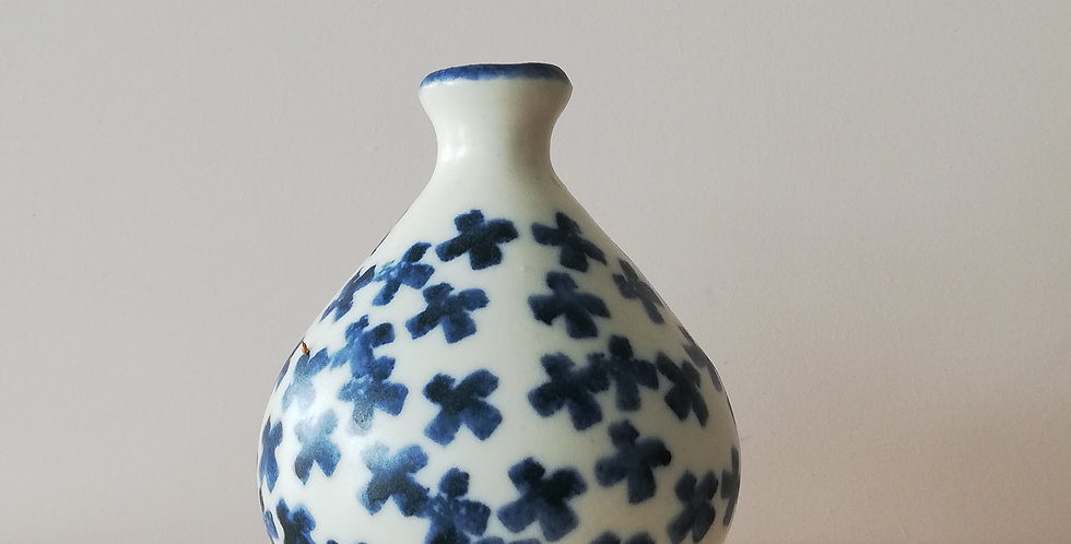 Blue cross bud vase