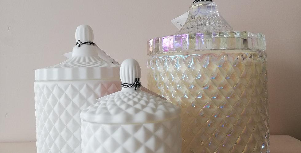 Luxury Geo Candle- White