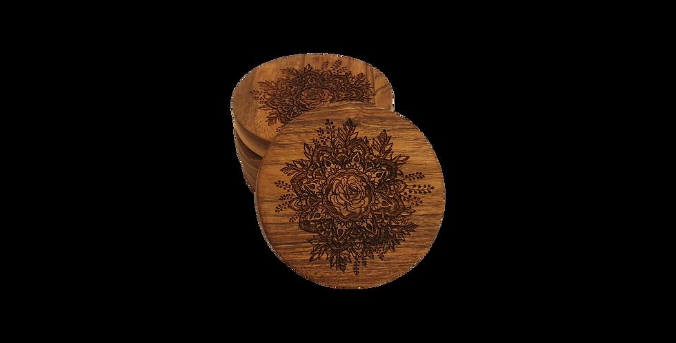 Wooden coaster- Rose Mandala