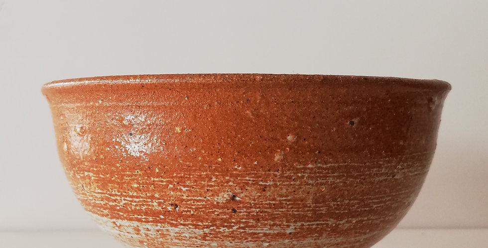 Ceramic Bowl- rust and cream