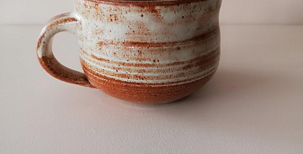 Ceramic mug- rust and cream