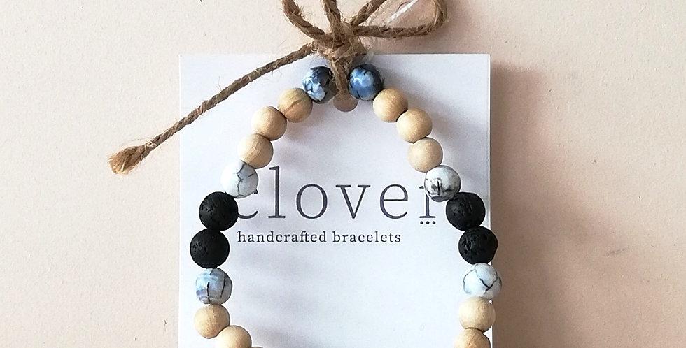 Diffuser Bracelet- Blue marble, Black and pine