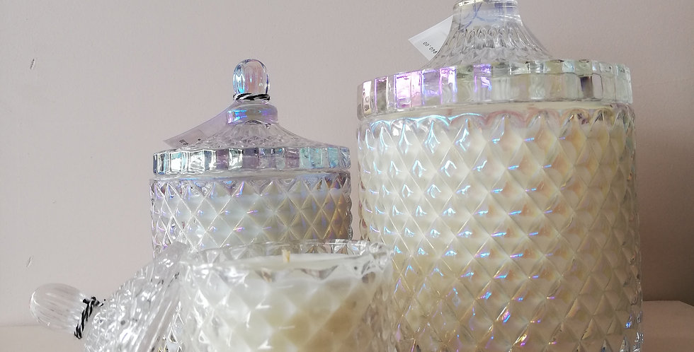 Luxury Geo Candle- Pearl Glass