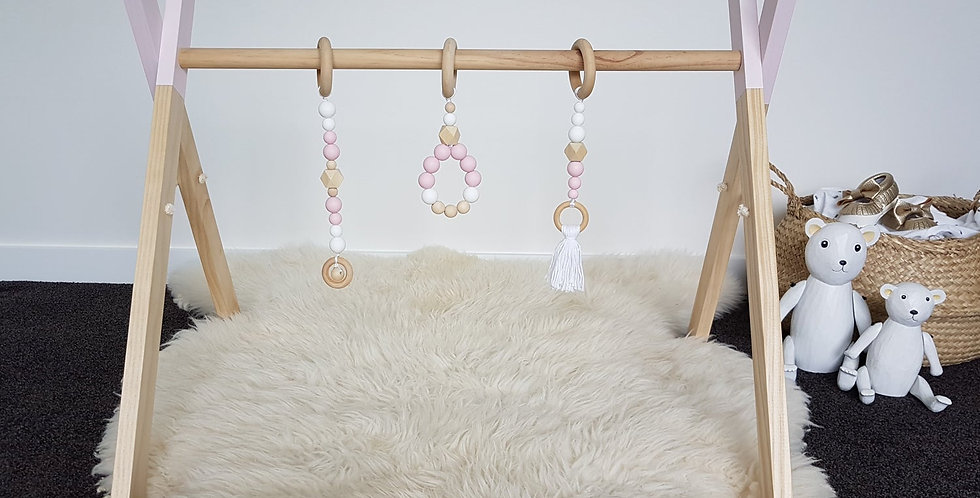 WOODEN PLAY GYM SET- PINK