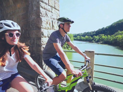 Here, we cycle along the water!