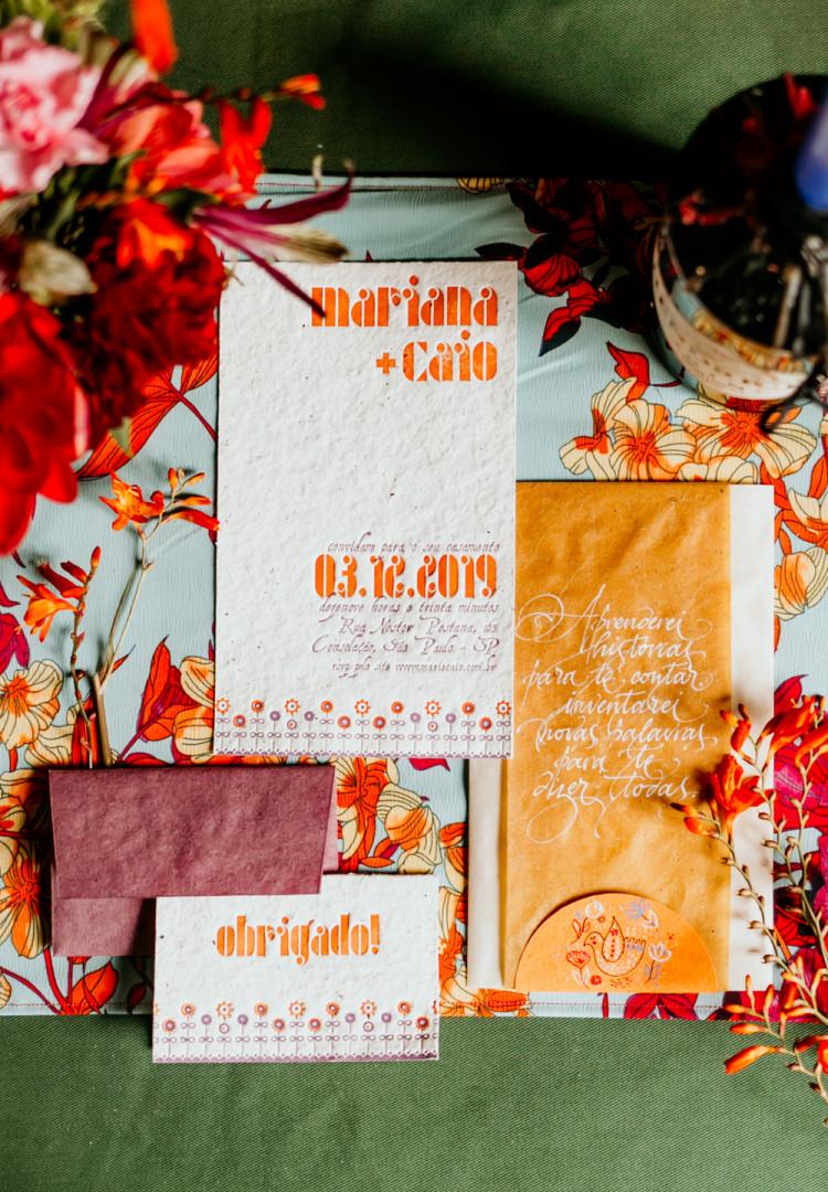 Convite de casamento Letterpress Brasil