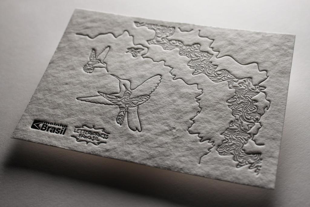 Arte por Letterpress Brasil em papel da Moinho Brasil