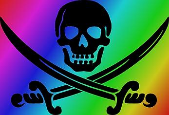 La bandera pirata, con una pequeña diferencia.