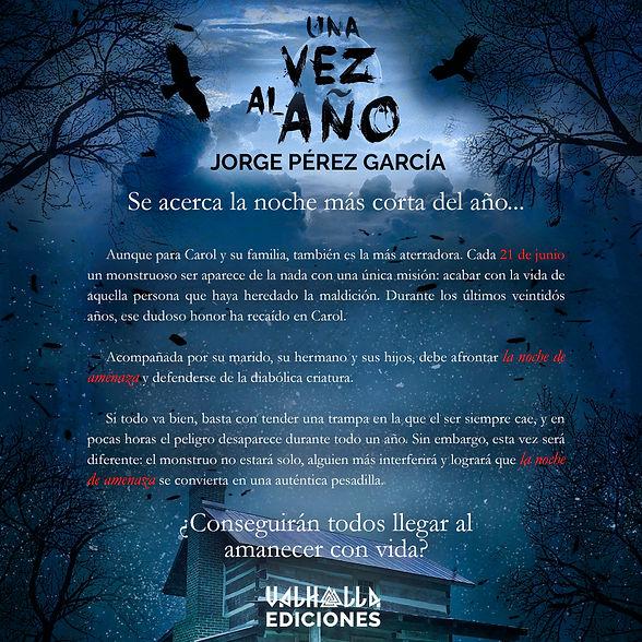 Sinopsis de Una vez al año, de Jorge Pérez García, por Valhalla Ediciones