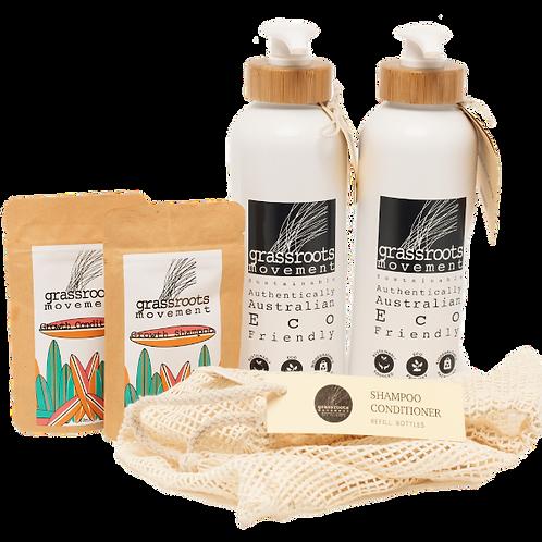 DUO Pack Aluminium Shampoo & Conditioner Refill Bottles
