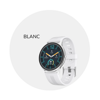 This 'Blanc' smart wearable is available in black or white. Silica gel band.