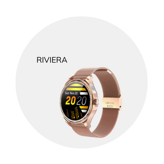 This 'Riviera' smart wearable is available in rose gold or silver. Stainless steel band.