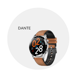 This 'Dante' smart wearable is available in black or tan. Rubber band.