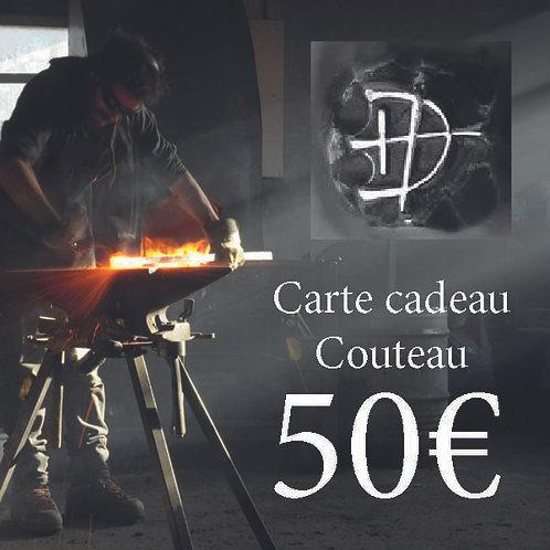 Carte cadeau pour un couteau d'une valeur de 50 €