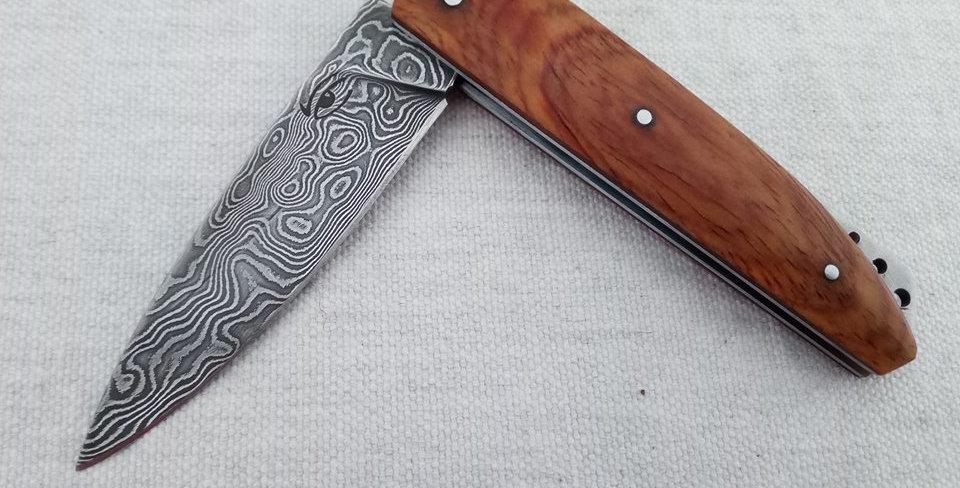 Couteau « Le Trièvois » lame Damas et manche Cocobolo