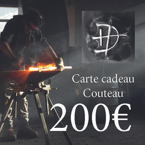 Carte cadeau pour un couteau d'une valeur de 200 €