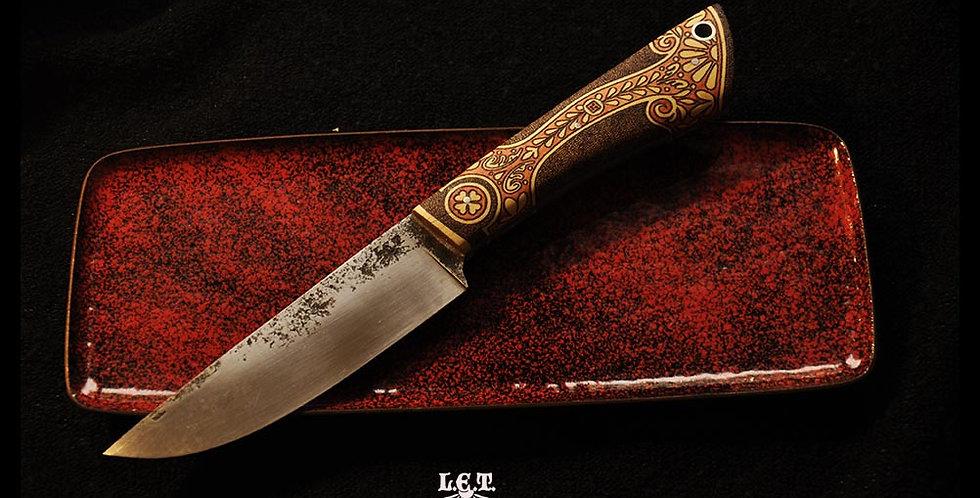 Couteau droit en buis pyrogravé