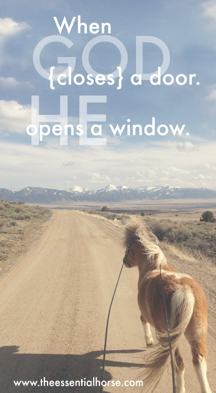 He opens a window.