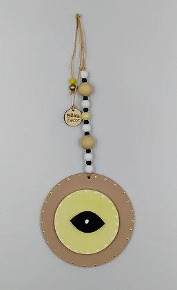 Ξύλινο Γούρι Eye μόκα με κίτρινο
