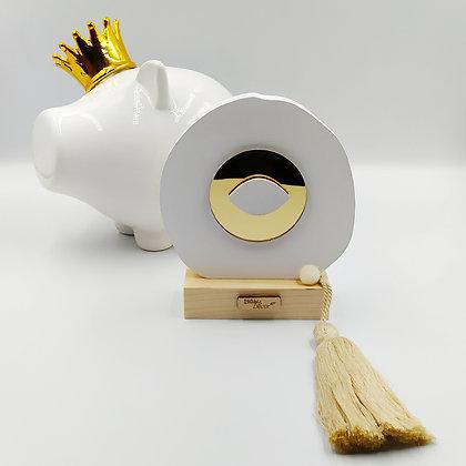 Ξύλινο μάτι λευκό με χρυσό πλέξιγκλας