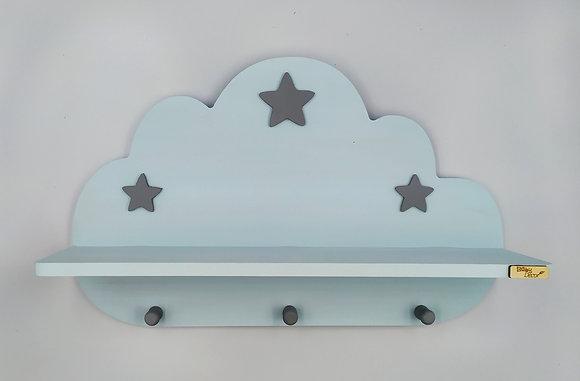 Ξύλινο σύννεφο ραφάκι γαλάζιο με γκρι αστεράκια