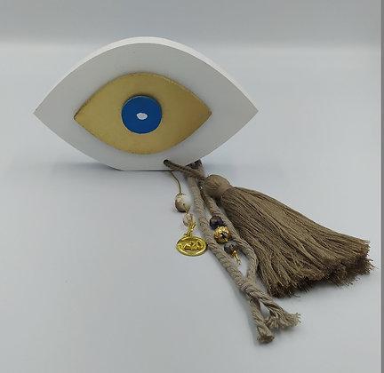 Μάτι στεκούμενο λευκό-χρυσό-μπλε