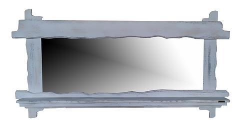 Ξύλινος Καθρέφτης παλαιωμένος με ράφι