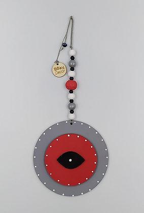Ξύλινο Γούρι Eye γκρι με κόκκινο