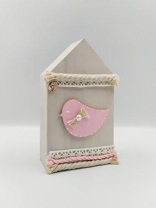 Ξύλινο Σπιτάκι Ροζ με πουλάκι