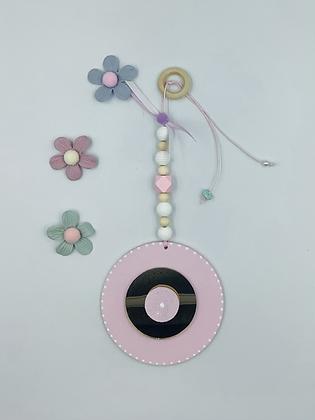 Ξύλινο Γούρι Eye ροζ με χρυσό plexiglass