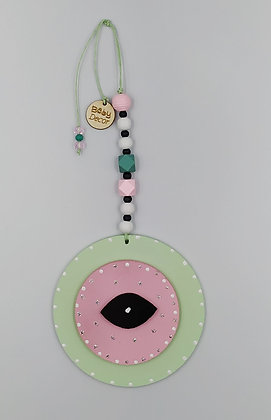 Ξύλινο Γούρι Eye μέντα με ροζ
