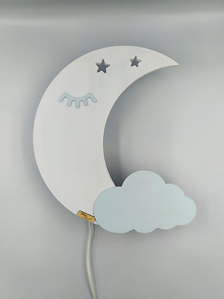 Φωτιστικό Φεγγάρι Λευκό με γαλάζιο συννεφάκι