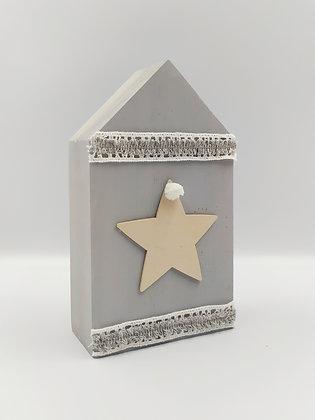 Ξύλινο Σπιτάκι γκρι με αστέρι