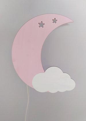 Φωτιστικό Φεγγάρι Ροζ με λευκό συννεφάκι