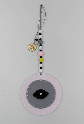 Ξύλινο Γούρι Eye λιλά με γκρι