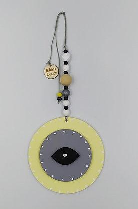 Ξύλινο Γούρι Eye Κίτρινο με γκρι