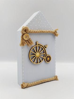 Ξύλινο Σπιτάκι Γαλάζιο με vintage ποδήλατο