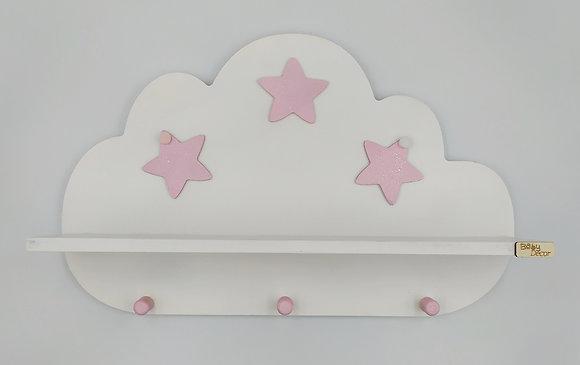 Ξύλινο σύννεφο ραφάκι λευκό με ροζ αστεράκια