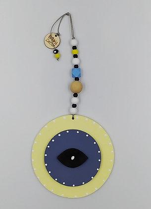 Ξύλινο Γούρι Eye κίτρινο με μπλε