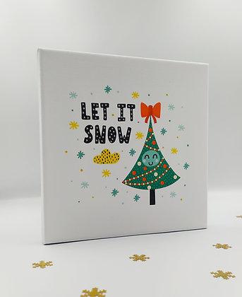 """Καδράκι σε καμβά """"Let it Snow"""" Tree"""