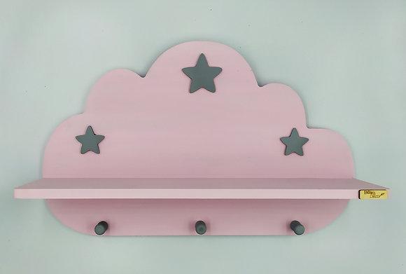 Ξύλινο σύννεφο ραφάκι ροζ με γκρι αστεράκια
