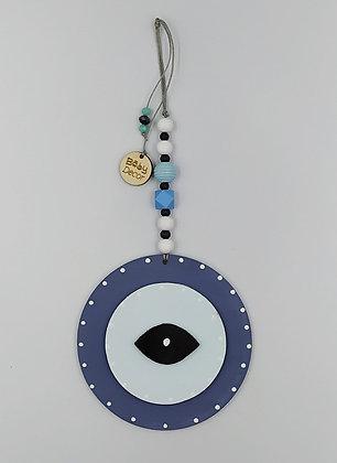 Ξύλινο Γούρι Eye μπλε με μέντα