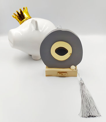 Ξύλινο μάτι γκρι με χρυσό πλέξιγκλας