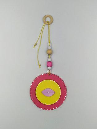 Ξύλινο Γούρι Eye φουξ με κίτρινο