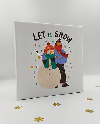 """Καδράκι σε καμβά """"Let it Snow"""""""
