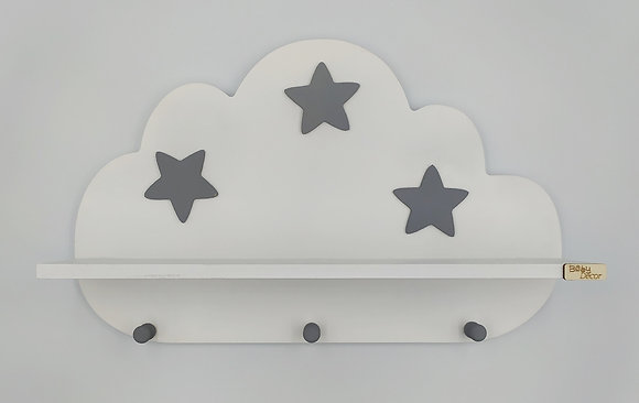 Ξύλινο σύννεφο ραφάκι λευκό με γκρι αστεράκια