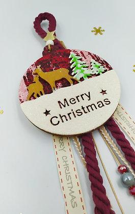 Ξύλινο γούρι κρεμαστό Merry Christmas