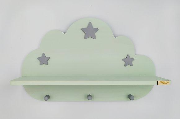 Ξύλινο σύννεφο ραφάκι μέντα με γκρι αστεράκια