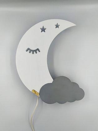Φωτιστικό Φεγγάρι Λευκό με γκρι συννεφάκι