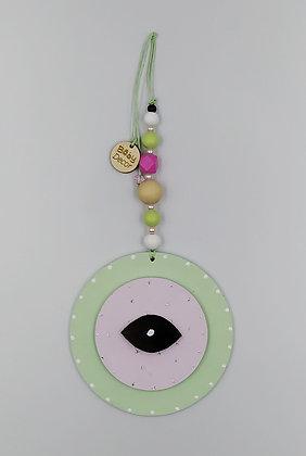 Ξύλινο Γούρι Eye πράσινο με ροζ